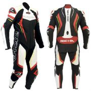 Richa Francorchamps 1 Piece Leather Suit Black/Red/Fluo